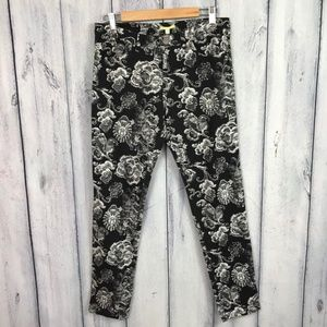 Gianni Bini Ankle Pants Skinny Straight Floral